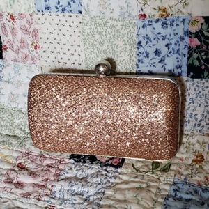 Handbags - Rose Gold Glitter Clutch